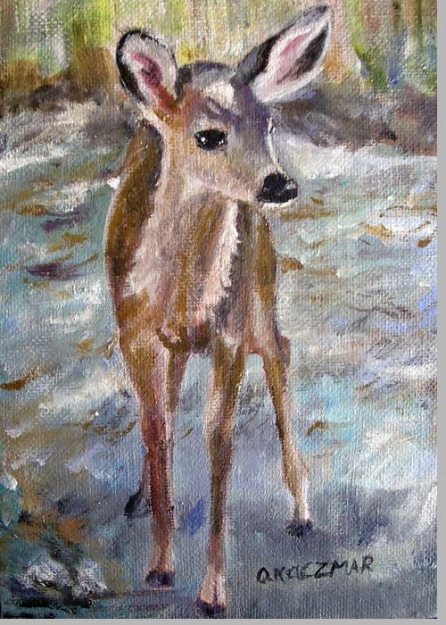 Fawn Greeting Card featuring the painting Fawn by Olga Kaczmar