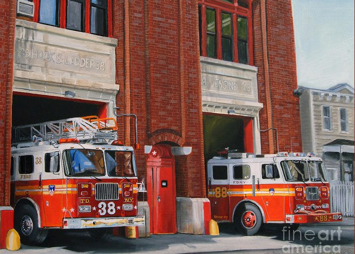 Fire House Greeting Card featuring the painting Fdny Engine 88 And Ladder 38 by Paul Walsh