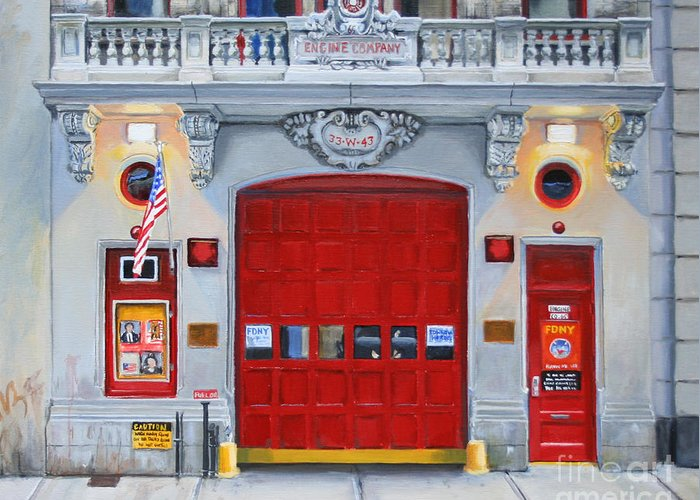 Fdny Greeting Card featuring the painting Fdny Engine Company 65 by Paul Walsh