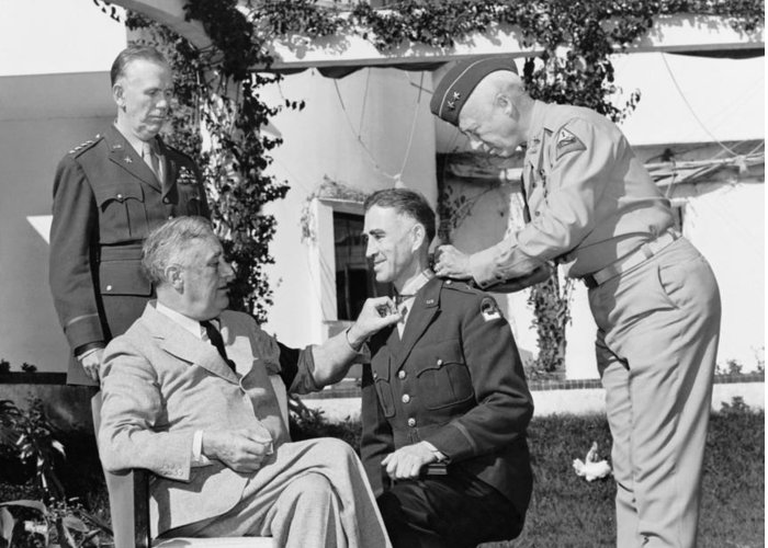 Franklin Roosevelt Greeting Card featuring the photograph Fdr Presenting Medal Of Honor To William Wilbur by War Is Hell Store