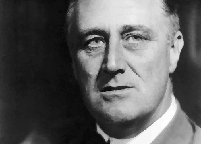 Franklin Roosevelt Greeting Card featuring the painting FDR by War Is Hell Store