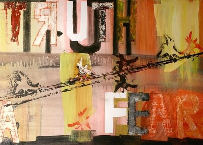 Truth Greeting Card featuring the painting Fear A Truth by Robin Antoinette Breeden