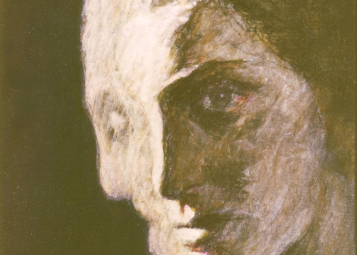 Head-study Greeting Card featuring the painting Fear Of Growing Old by James LeGros