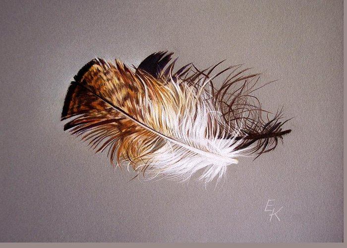 Still Life Greeting Card featuring the drawing Feather And Shadow 2 by Elena Kolotusha
