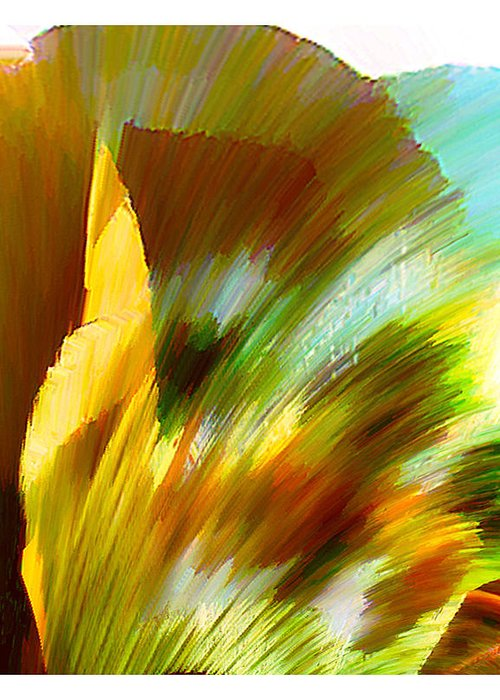 Landscape Digital Art Watercolor Water Color Mixed Media Greeting Card featuring the digital art Feather by Anil Nene