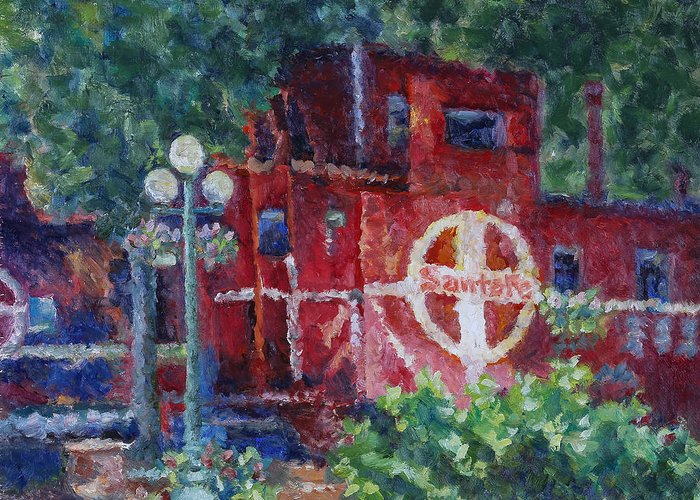 100 Views Of Mount Konocti Greeting Card featuring the painting Featherbed Railroad Caboose by Joe Geare