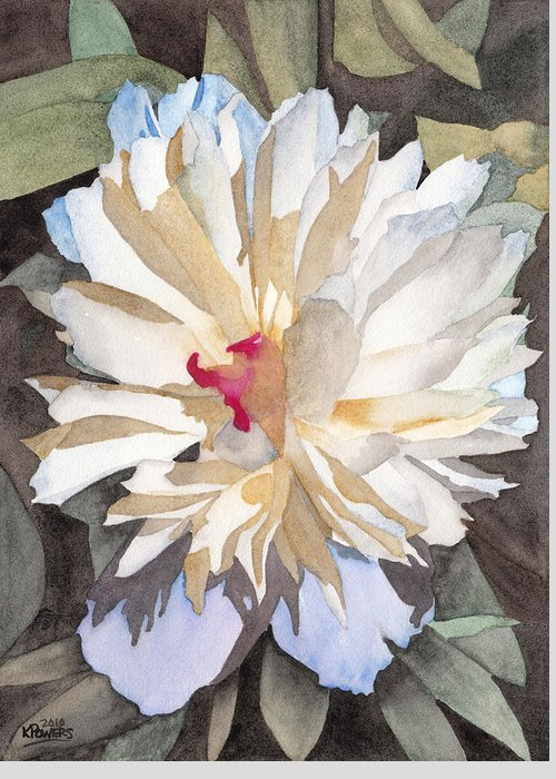 Watercolor Greeting Card featuring the painting Feathery Flower by Ken Powers