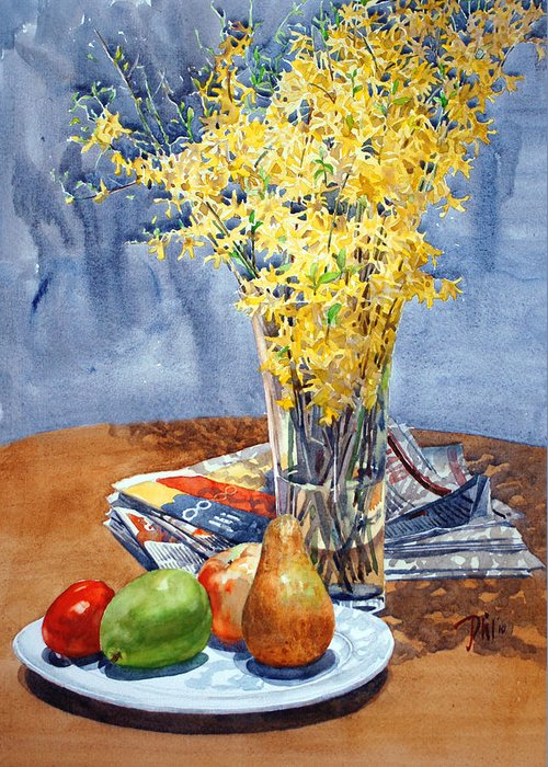 Watercolor Still Life Greeting Card featuring the painting February Forthysia by Peter Sit