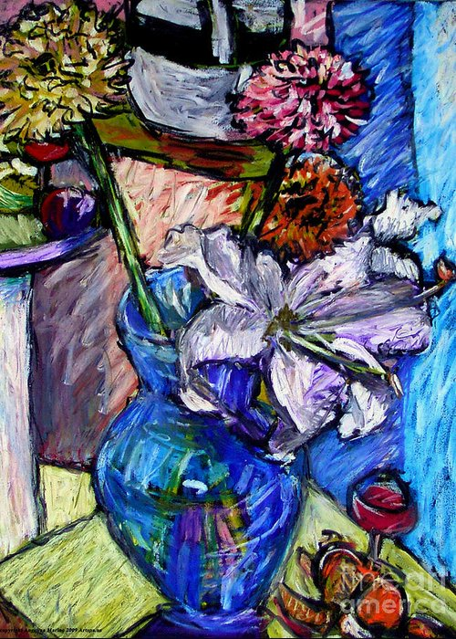 Lillies Greeting Card featuring the painting February Still Life Flowers Wine And Orange by Angelina Marino
