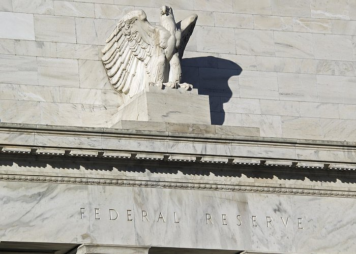 Fed Greeting Card featuring the photograph Federal Reserve Eagle Detail Washington Dc by Brendan Reals