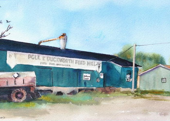 Old Feed Mill Greeting Card featuring the painting Feed And Seed by Bobby Walters