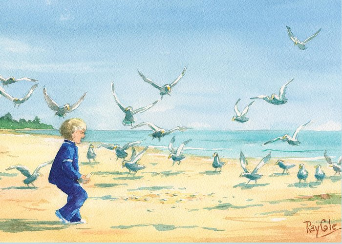 Boy On Beach Greeting Card featuring the painting Feeding Joy by Ray Cole