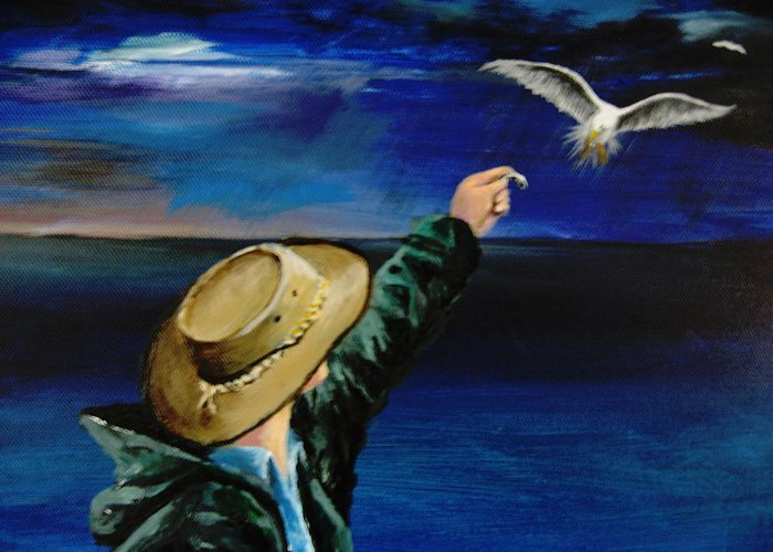 Seagull Greeting Card featuring the painting Feeding My Gull Friend by Larry Whitler