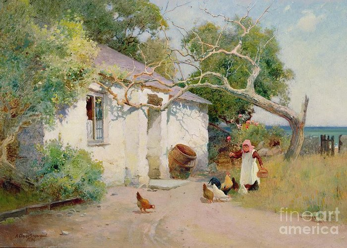 Feeding Greeting Card featuring the painting Feeding The Hens by Arthur Claude Strachan