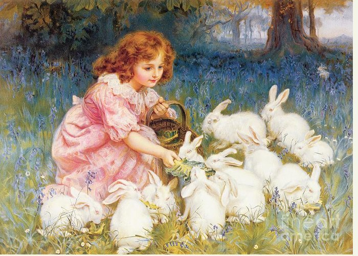 Feeding Greeting Card featuring the painting Feeding The Rabbits by Frederick Morgan