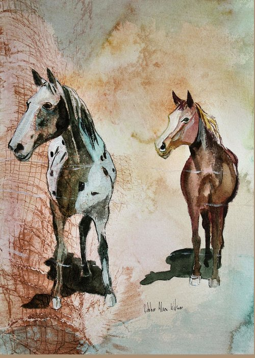 Horses Greeting Card featuring the painting Feeding Time by Debbie Wilson