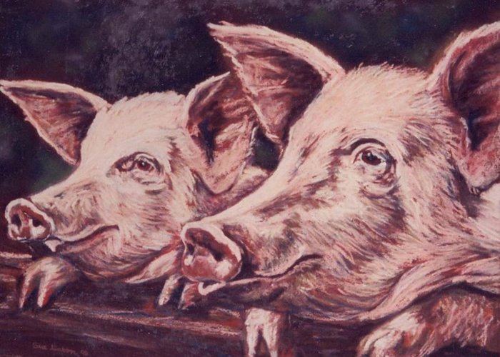 Pigs Greeting Card featuring the painting Feedtime by Sue Linton