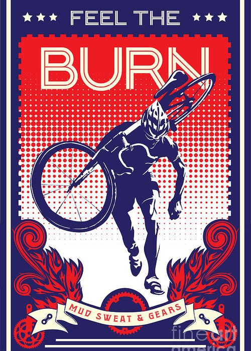 Cyclocross Art Greeting Card featuring the painting Feel The Burn by Sassan Filsoof