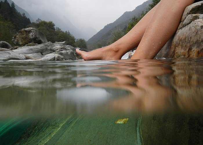Feet Greeting Card featuring the photograph Feet On The Water by Mats Silvan