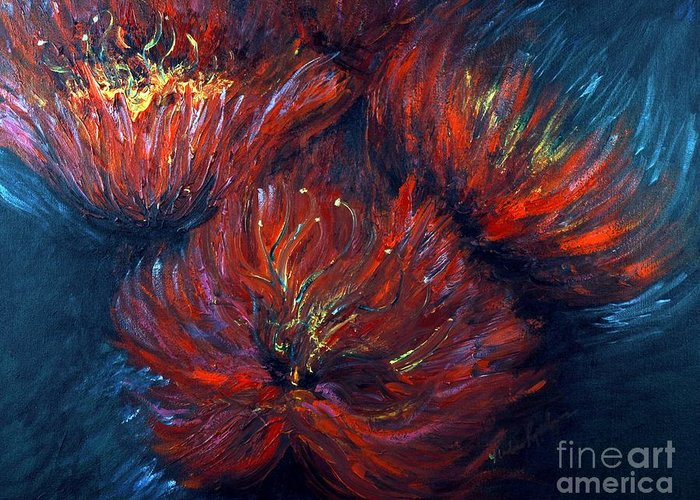 Abstract Greeting Card featuring the painting Fellowship by Nadine Rippelmeyer