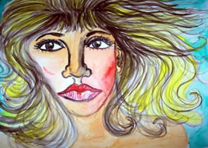 Female Face Greeting Card featuring the painting Female Face by Caroline Lifshey
