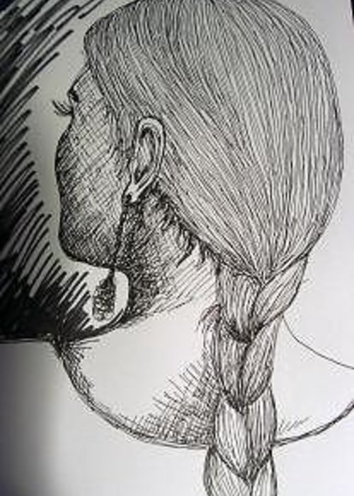 Back Of A Female Head Greeting Card featuring the drawing Female Head by Caroline Lifshey