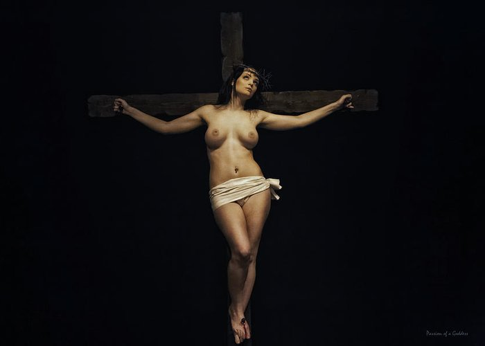 Woman Greeting Card featuring the photograph Female Jesus by Ramon Martinez