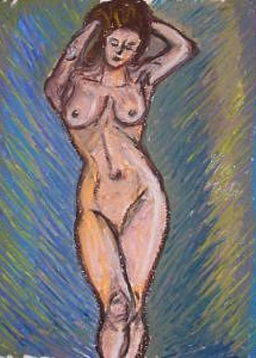 Nude Greeting Card featuring the drawing Female Nude A by Caroline Lifshey