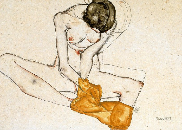 Female Nude Greeting Card featuring the painting Female Nude by Egon Schiele