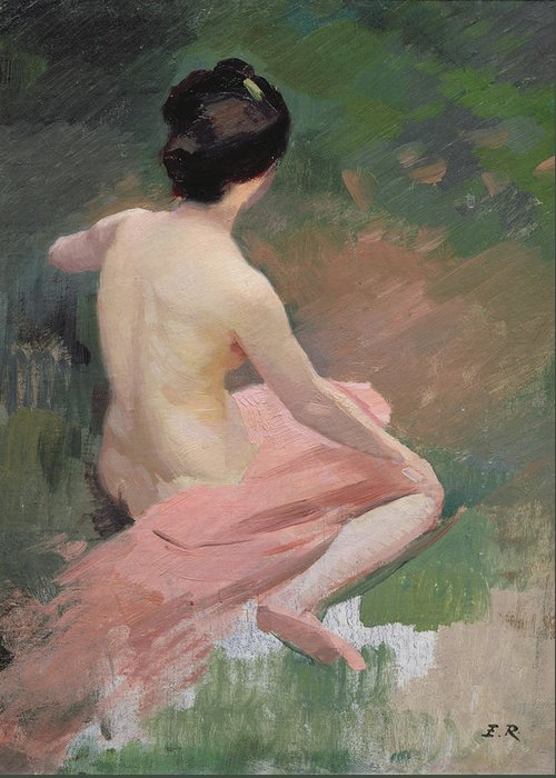 Female; Kneeling; En Plein Air; Al Fresco; Back Greeting Card featuring the painting Female Nude by Jules Ernest Renoux