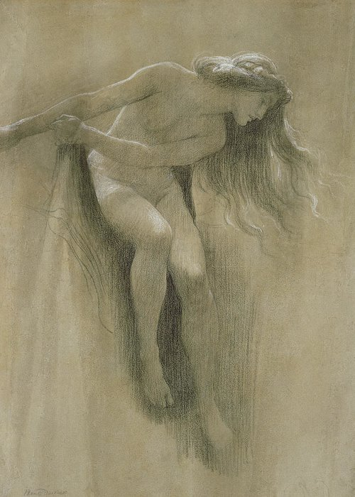Female Nude Study (chalk On Paper) By John Robert Dicksee (1817-1903) Greeting Card featuring the pastel Female Nude Study by John Robert Dicksee