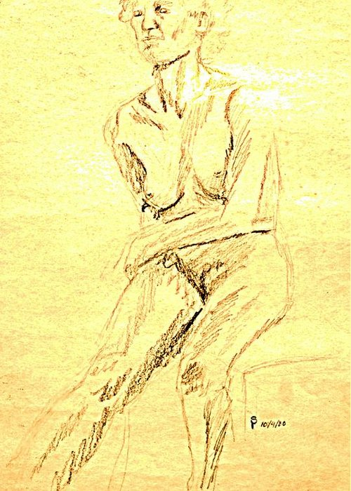 Female Greeting Card featuring the drawing Female Nude With Arm Across by Sheri Buchheit