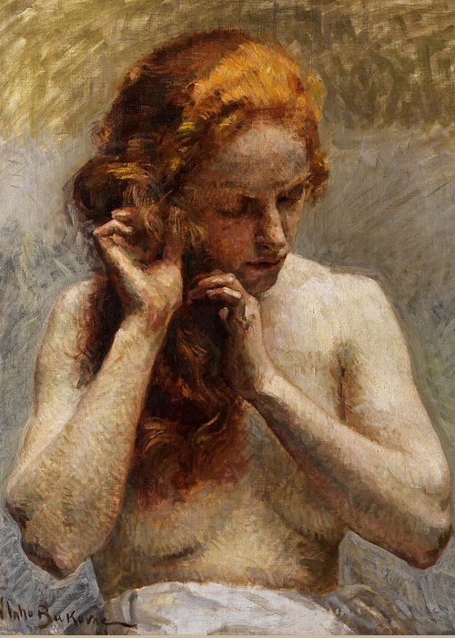 Vlaho Bukovac Greeting Card featuring the painting Female Nude with Red Hair by Vlaho Bukovac