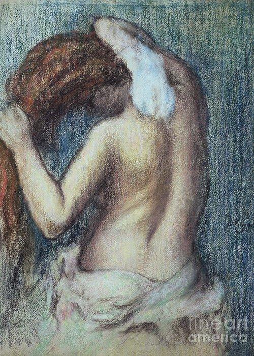 Femme A Sa Toilette Greeting Card featuring the pastel Femme A Sa Toilette by Edgar Degas