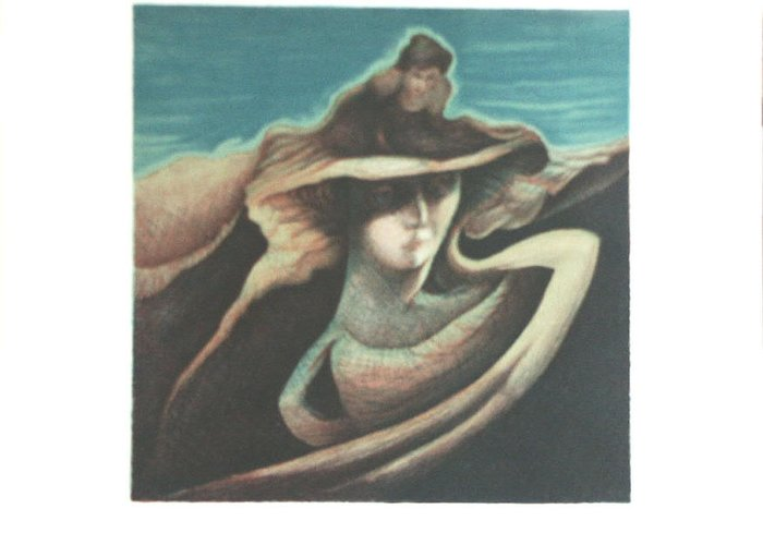 Woman Greeting Card featuring the print Femme Au Chapeau by James LeGros