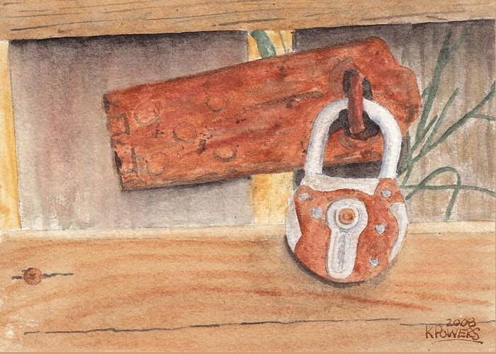 Fence Greeting Card featuring the painting Fence Lock by Ken Powers