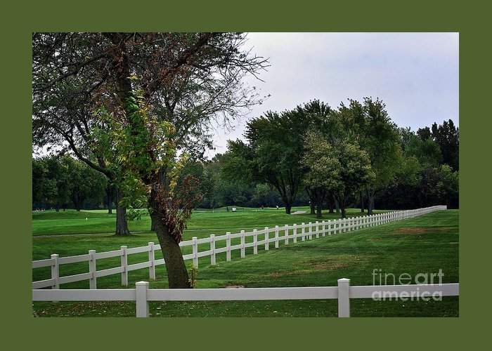 Frank J Casella Greeting Card featuring the photograph Fence On The Wooded Green by Frank J Casella