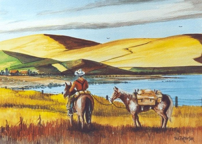 Horses Greeting Card featuring the painting Fence Rider Going Home by Bob Patterson