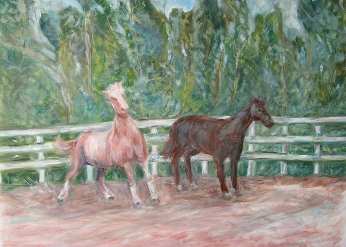 Horse Landscape Animals Greeting Card featuring the painting Fenced In by Joseph Sandora Jr