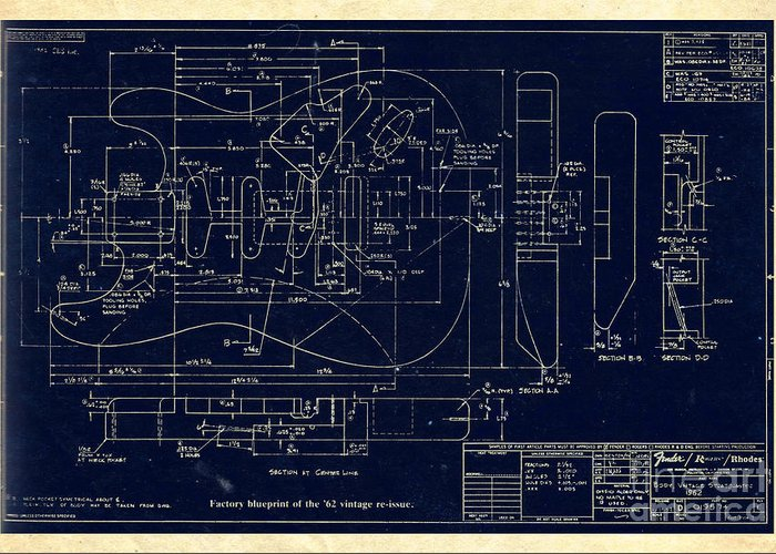Fender stratocaster 1962 vintage body factory blueprint greeting fender greeting card featuring the digital art fender stratocaster 1962 vintage body factory blueprint by galambosi malvernweather Images