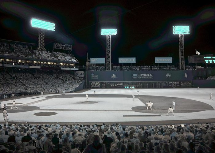 Ballpark Greeting Card featuring the photograph Fenway Infrared by James Walsh