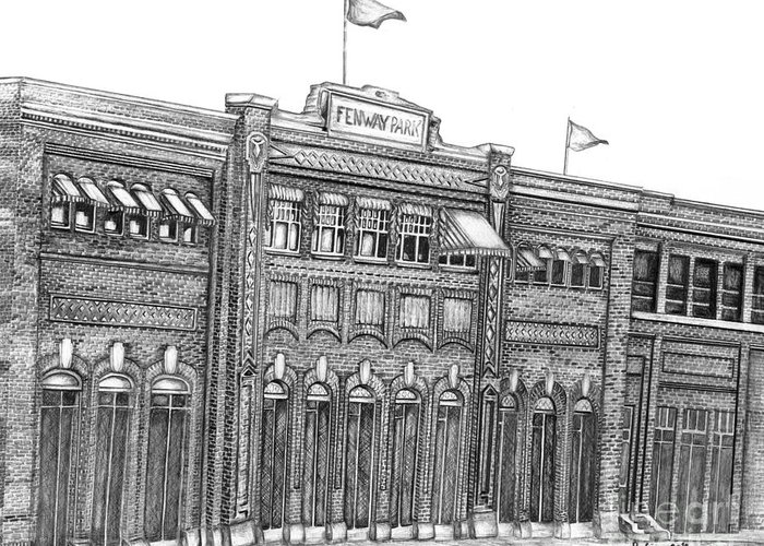 Fenway Park Greeting Card featuring the drawing Fenway Park by Juliana Dube