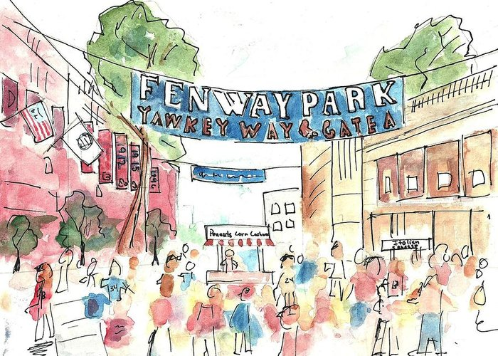 Baseball Greeting Card featuring the painting Fenway Park by Matt Gaudian