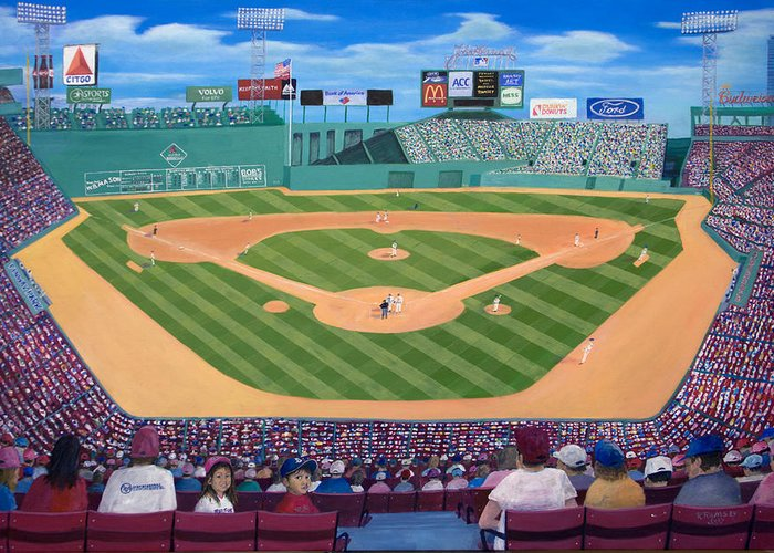 Fenway Greeting Card featuring the painting Fenway Park by Richard Ramsey