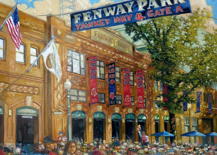 Boston Red Sox Paintings Greeting Cards