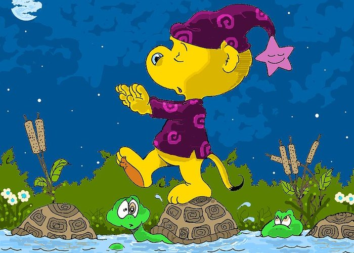 Turtles Greeting Card featuring the drawing Ferald Sleepwalking by Keith Williams