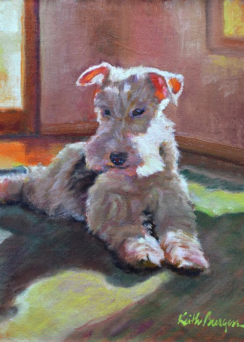 Pet Greeting Card featuring the painting Fergie by Keith Burgess