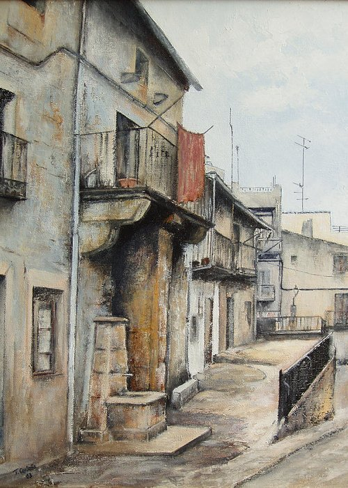 Fermoselle Zamora Spain Oil Painting City Scapes Urban Art Greeting Card featuring the painting Fermoselle by Tomas Castano