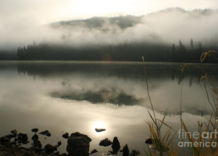 Mist Greeting Card featuring the photograph Fernan Fog by Idaho Scenic Images Linda Lantzy