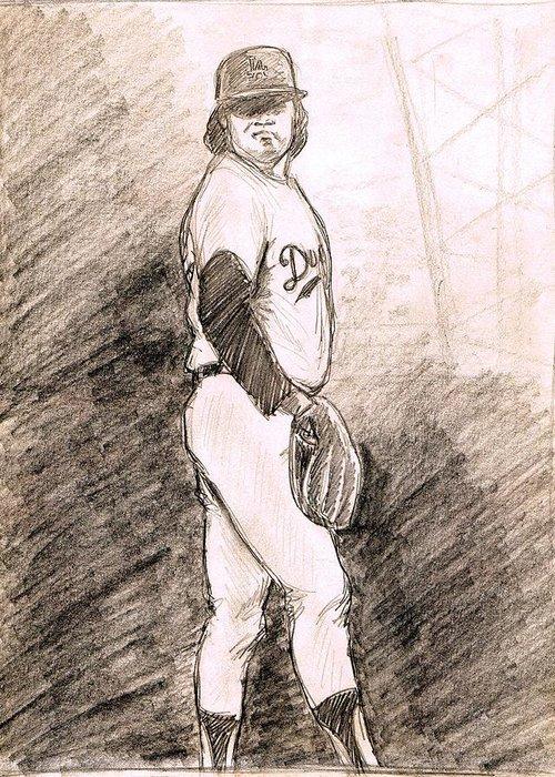 Baseball Greeting Card featuring the drawing Fernando Valenzuela by Mel Thompson